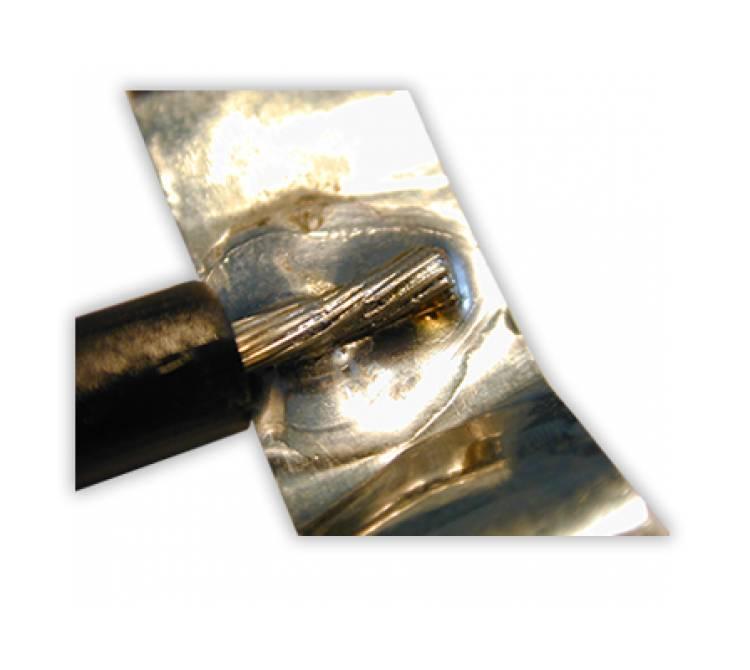 Lötung von Einzellitzen auf einer Metallfolie